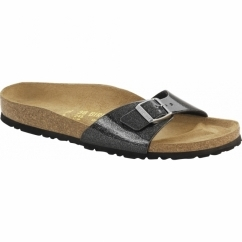 MADRID Ladies Glitter Buckle Sandals Black