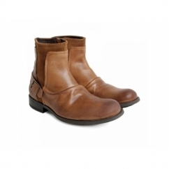 MAGNET Mens Leather Suede Creased Biker Boots Tan