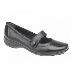 MALINDA Ladies Button Mary Jane Flat Shoes Black