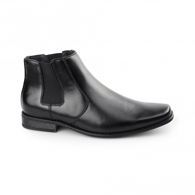 Goor MARCEL Mens Faux Leather Chisel Toe Chelsea Boots Black