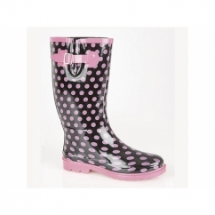 MARCELA Ladies Wellington Boots Black/Pink Polka Dot