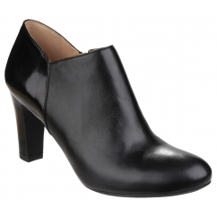 MARIELE Ladies Leather Heeled Ankle Boots Black