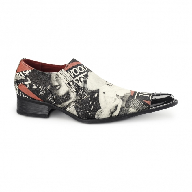 Rossellini MARILYN Mens Winklepicker Loafers Black/Red