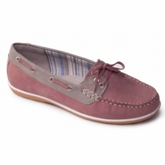 MARINA Ladies Leather Wide Loafers Pink/Combi