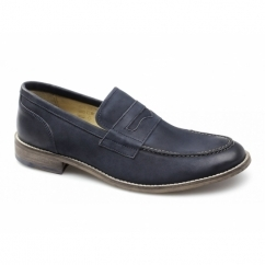 MARNER Mens Leather Penny Loafers Navy