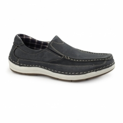 MARSHALL Mens Nubuck Loafer Shoes Navy