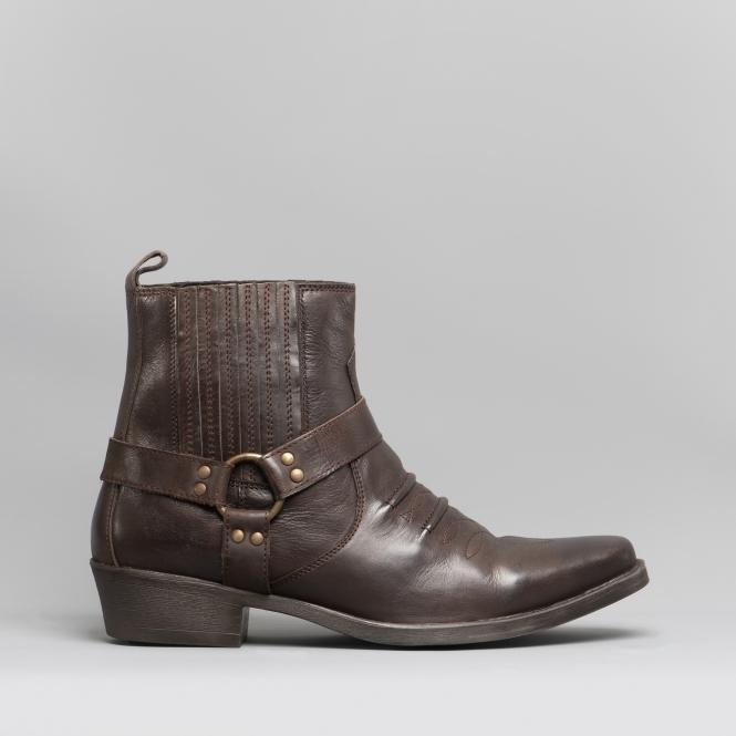 f27945045f85 Maverick Mens Soft Leather Cowboy Boots Dark Brown