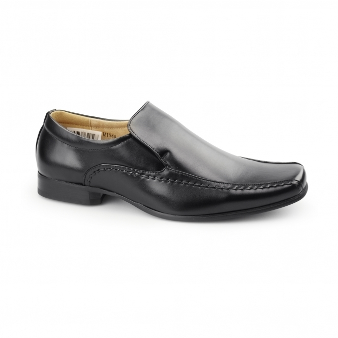 Goor MAXWELL Mens Faux Leather Tramline Loafers Black