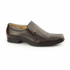 MAXWELL Mens Faux Leather Tramline Loafers Brown