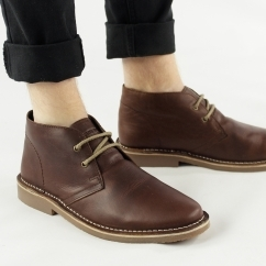 MAYNARD Mens Leather Desert Boots Brown
