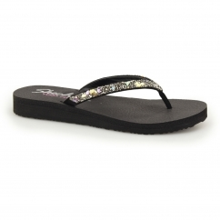 MEDITATION - BREAK WATER Ladies Toe Post Flip Flop Black