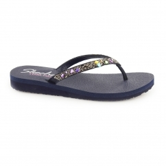 Skechers MEDITATION - BREAK WATER Ladies Toe Post Flip Flop Navy