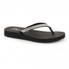 MEDITATION Ladies Diamante Toe Post Flip Flops Black