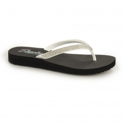 MEDITATION Ladies Diamante Toe Post Flip Flops White