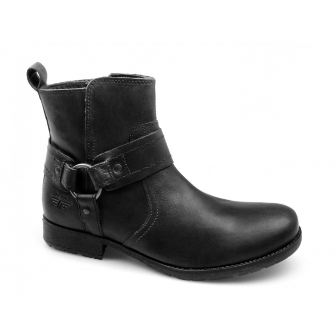 Red Tape MEDLOCK Mens Creased Leather Zip Harness Boots Black