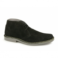 Mens 2 Eye Shaped Toe Leather Desert Boots Black