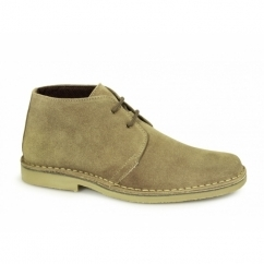 Mens 2 Eye Shaped Toe Suede Leather Desert Boots Sand