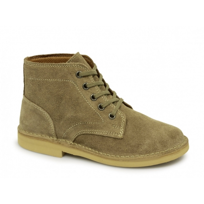 Roamers Mens 5 Eyelet Suede Leather Desert Boots Taupe