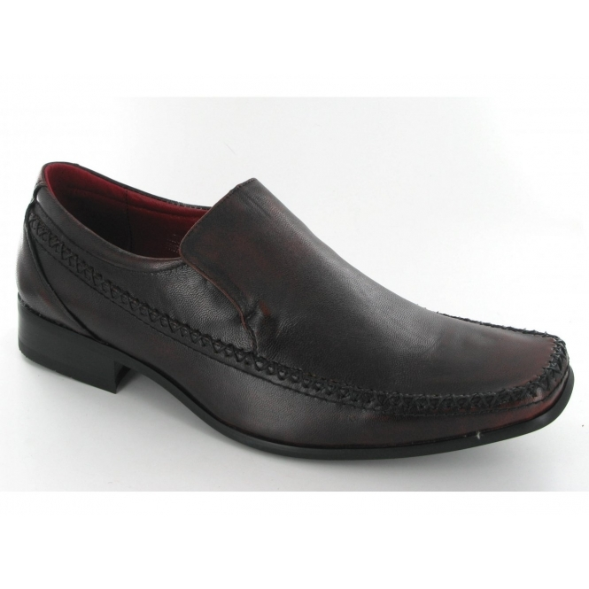 Front Mens Leather Chisel Toe Slip On Shoes Brown