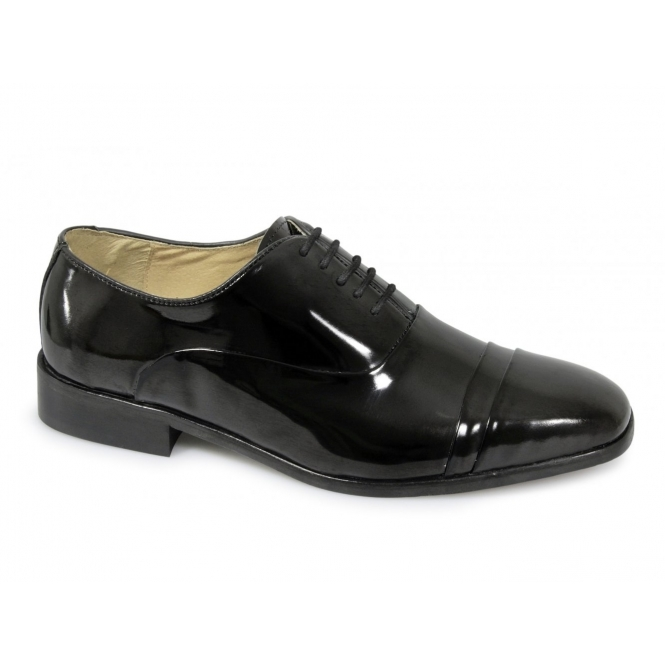 Montecatini Mens Patent Leather Folded Cap Oxford Shoes Black