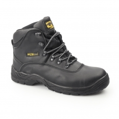 Mens S3 SRC Leather Waterproof Safety Boots Black