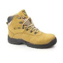 Mens S3 SRC Nubuck Waterproof Safety Boots Honey