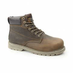 Mens SB SRA Leather Welted Safety Boots Brown