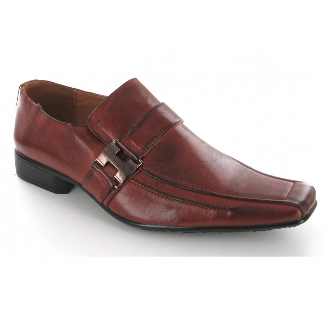 Shuperb Mens Slip On Buckle Square Toe Shoes Brown