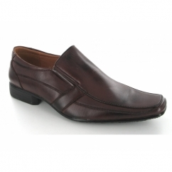 Mens Twin Gusset Slip On Chisel Toe Shoes Brown