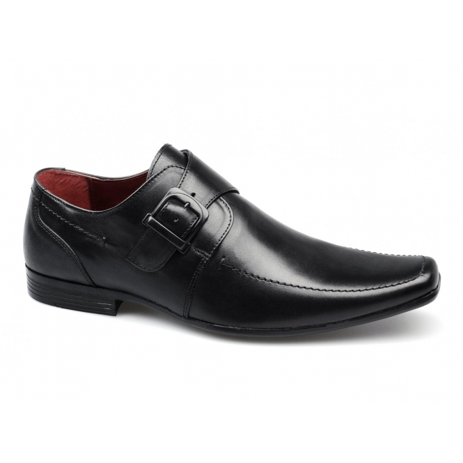 Red Tape MERSEY 2 Mens Leather Chisel Toe Buckle Shoes Black