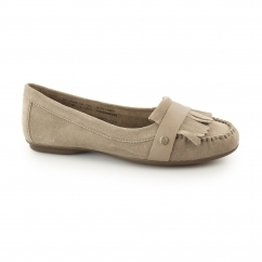 MESSITT ROBYN Ladies Suede Leather Fringe Loafers Taupe