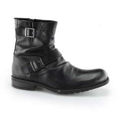 Base London METAL Mens Waxy Leather Biker Boots Black