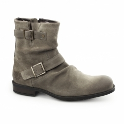 METAL RUSTIC Mens Greasy Suede Biker Boots Grey