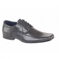 MICAH Boys Faux Leather Chisel Toe Gibson Shoes Black