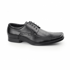 MICAH Mens Faux Leather Chisel Toe Gibson Shoes Black