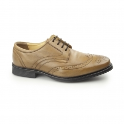MICKLETON Mens Leather Derby Brogue Shoes Tan