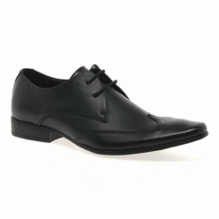 MILAN Mens Leather Chisel Toe Wingtip Shoes Black