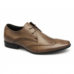 MILAN Mens Leather Chisel Toe Wingtip Shoes Tan