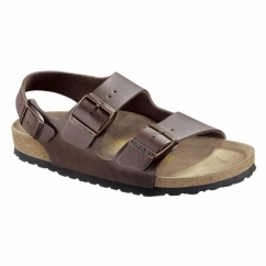 MILANO Mens Triple Buckle Sandals Dark Brown