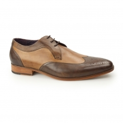 MILLE Mens Leather Contrast Derby Brogues Brown/Tan