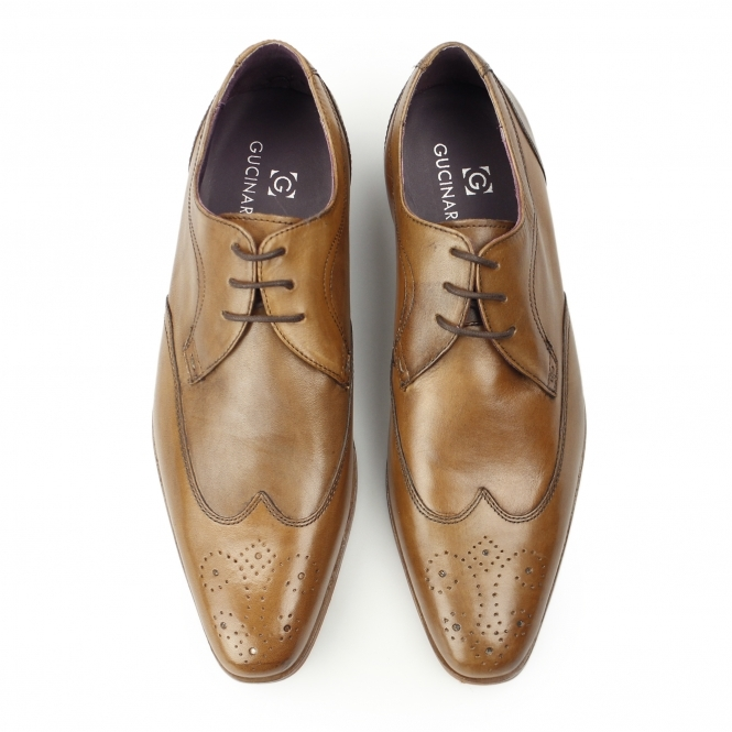 9957fd02c5749 Gucinari MILLE Mens Leather Smart Derby Shoes Brogues Tan | Shuperb