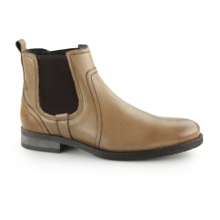 MILLER Mens Leather Elasticated Chelsea Boots Tan