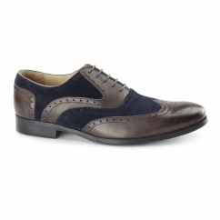 MILLER Mens Leather Oxford Brogues Brown/Blue