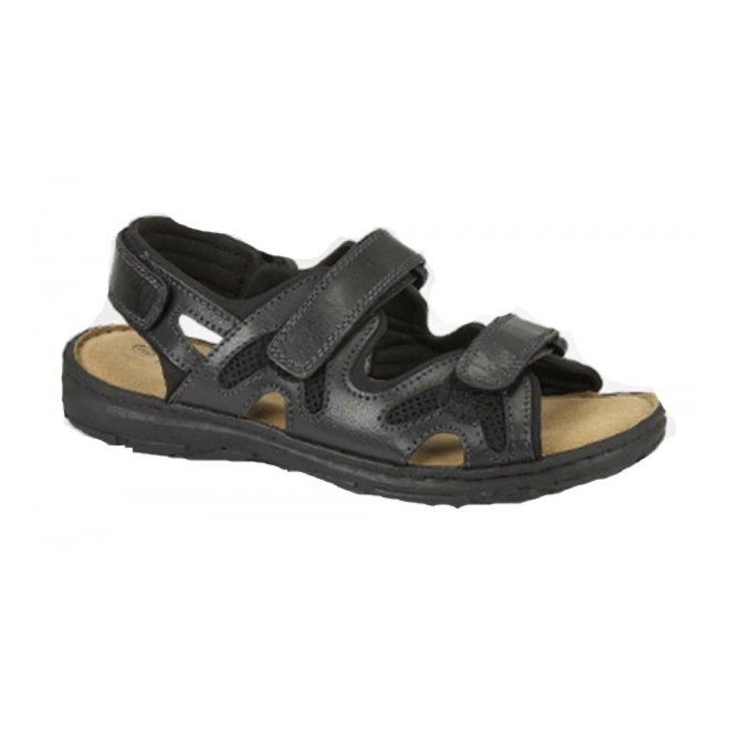 Roamers MILO Mens Leather Velcro Comfort Sports Sandals Black