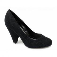 MINERVA Ladies Faux Suede High Heels Shoes Black
