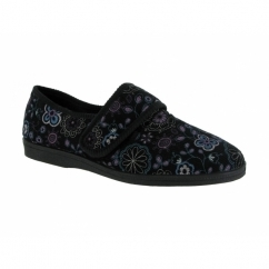 BETTY Ladies Corduroy Floral Touch Fastening Slippers Black