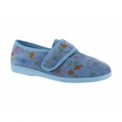 JACQUELINE Ladies Corduroy Floral Touch Fastening Slippers Blue