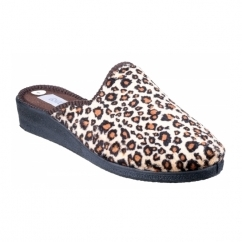 SUZY Ladies Mule Slippers Leopard