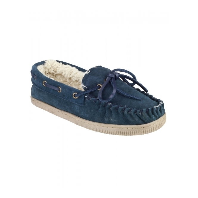 Mirak TAW Ladies Suede Leather Moccasin Boat Slippers Navy