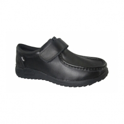 TOMMY Boys Touch Fasten Smart School Shoes Black